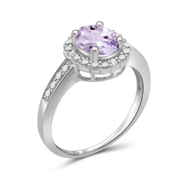 JewelonFire 1.00 Carat T.G.W. Pink Amethyst And 1/20 Carat T.W. White Diamond Sterling Silver Ring - Assorted Colors
