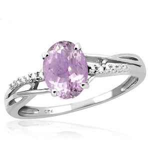 JewelonFire 1.00 Carat T.G.W. Pink Amethyst And White Diamond Accent Sterling Silver Ring - Assorted Colors
