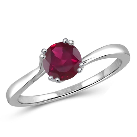 JewelonFire 3/4 Carat T.G.W. Ruby Sterling Silver Ring - Assorted Colors