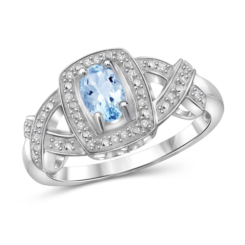JewelonFire 1/2 Carat T.G.W. Sky Blue Topaz And 1/20 Carat T.W. White Diamond Sterling Silver Ring - Assorted Colors