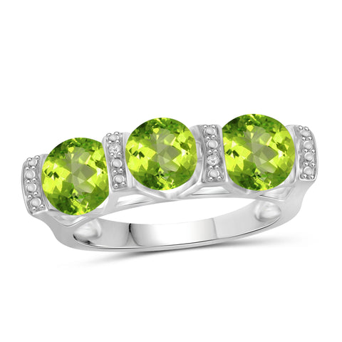 JewelonFire 2 1/4 Carat T.G.W. Peridot And White Diamond Accent Sterling Silver Ring - Assorted Colors