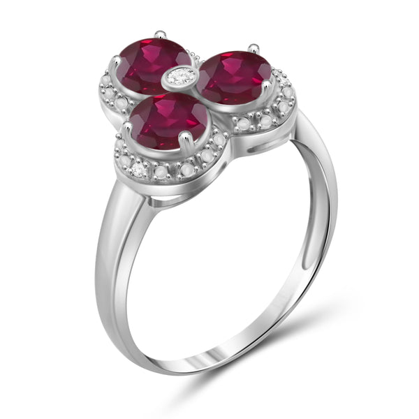 JewelonFire 2 Carat T.G.W. Ruby and White Diamond Accent Sterling Silver 3-Stone Ring- Assorted Colors