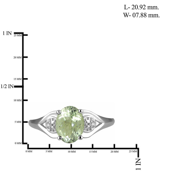 JewelersClub 1 1/3 Carat T.G.W. Green Amethyst And White Diamond Accent Sterling Silver Ring - Assorted Colors
