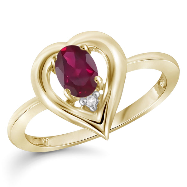 JewelonFire 0.45 Carat T.G.W. Ruby and White Diamond Accent Sterling Silver Ring - Assorted Colors