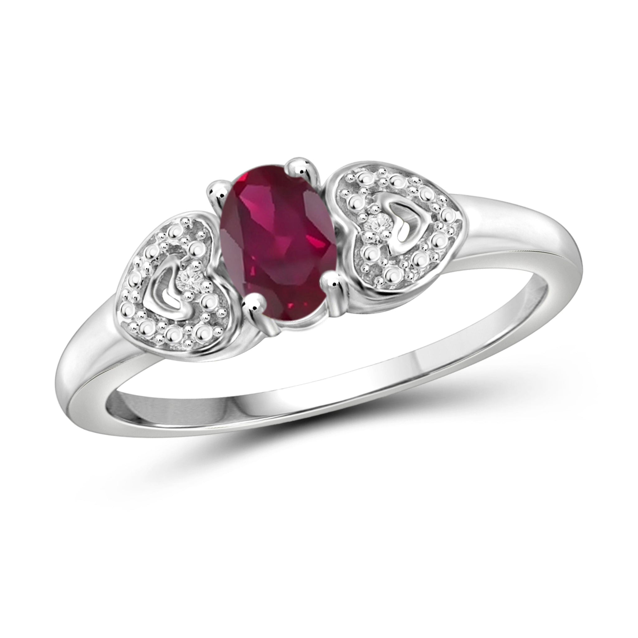 JewelersClub 0.45 Carat T.G.W. Ruby and White Diamond Accent Sterling Silver Ring - Assorted Colors