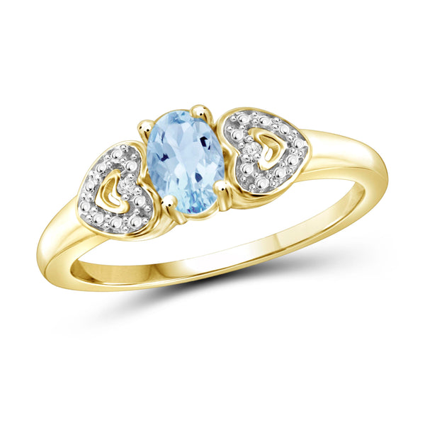 JewelonFire 1/2 Carat T.G.W. Sky Blue Topaz And White Diamond Accent Sterling Silver Ring - Assorted Colors