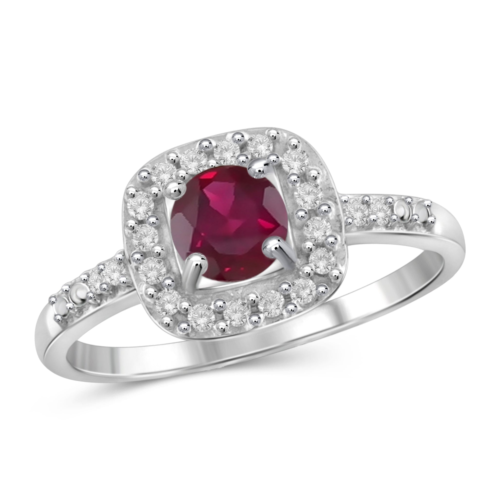 JewelonFire 3/4 Carat T.G.W. Ruby and White Diamond Accent Sterling Silver Ring- Assorted Colors