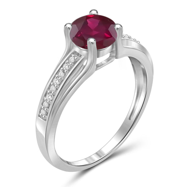 JewelersClub 1 1/5 Carat T.G.W. Ruby and White Diamond Accent Sterling Silver Promise Ring- Assorted Colors