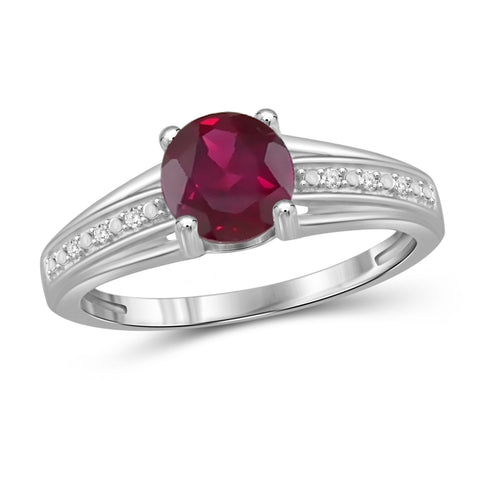 JewelonFire 1 1/5 Carat T.G.W. Ruby and White Diamond Accent Sterling Silver Promise Ring- Assorted Colors