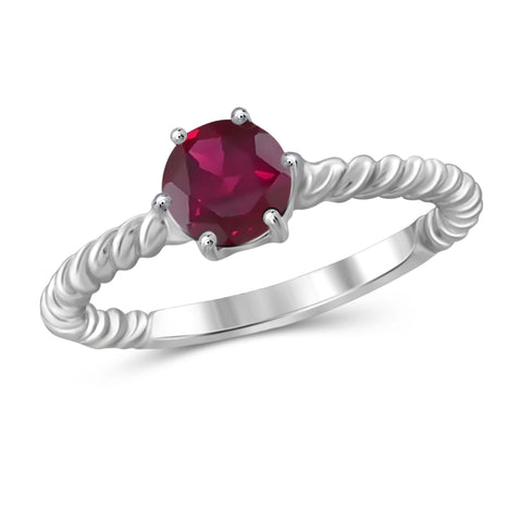 JewelonFire 1 1/5 Carat T.G.W. Ruby Sterling Silver Ring - Assorted Colors