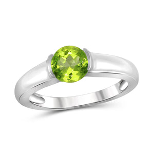 JewelonFire 3/4 Carat T.G.W. Peridot Sterling Silver Ring - Assorted Colors