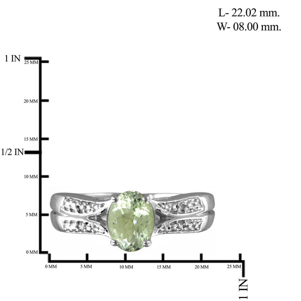 JewelonFire 1 1/3 Carat T.G.W. Green Amethyst And 1/20 Carat T.W. White Diamond Sterling Silver Ring - Assorted Colors