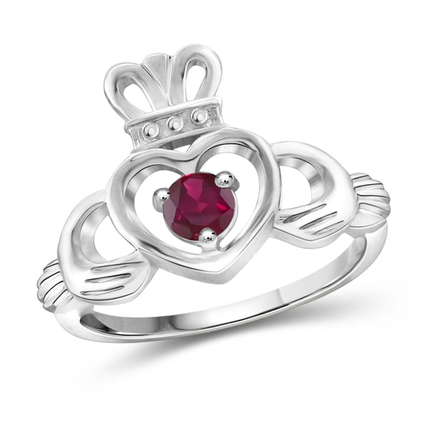JewelonFire 1/3 Carat T.G.W. Ruby Sterling Silver Heart Crown Ring- Assorted Colors