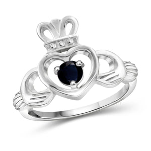 JewelonFire 1/3 Carat T.G.W. Sapphire Sterling Silver Heart Crown Ring- Assorted Colors