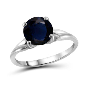 JewelonFire 2 1/5 Carat T.G.W. Sapphire Sterling Silver Ring- Assorted Colors