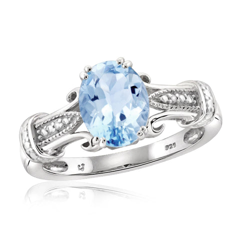 JewelonFire 2 1/2 Carat T.W. Sky Blue Topaz And White Diamond Accent Sterling Silver Ring - Assorted Colors