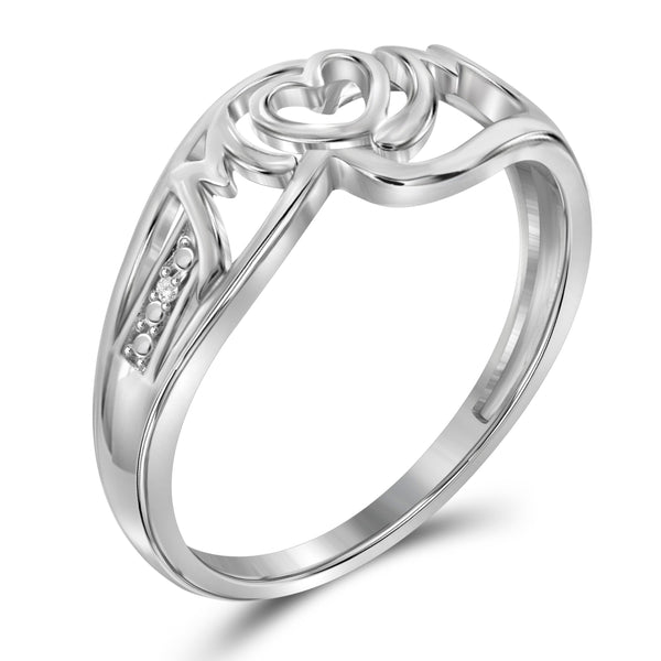 JewelonFire White Diamond Accent Sterling Silver Mother Ring - Assorted Colors