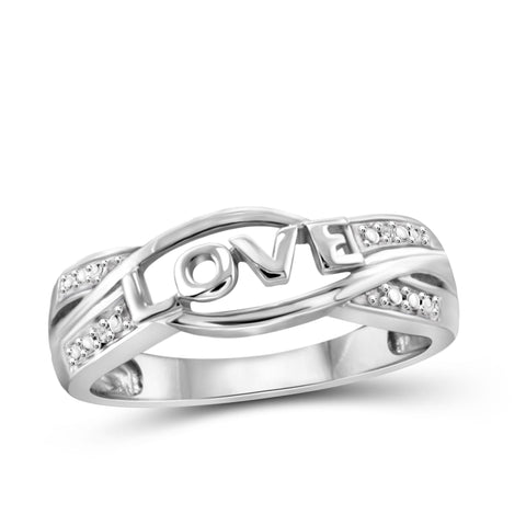 JewelonFire White Diamond Accent Sterling Silver Love Ring - Assorted Colors