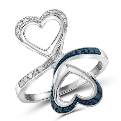 JewelonFire Blue And White Diamond Accent Sterling Silver Double Heart Open Ring