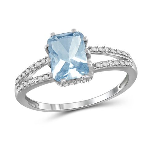 JewelonFire 2.00 Carat T.G.W. Sky Blue Topaz And White Diamond Accent Sterling Silver Ring - Assorted Colors