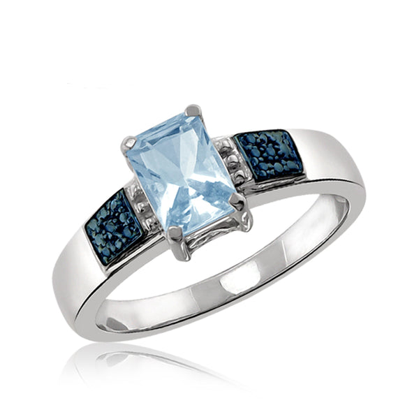 JewelonFire 1 1/3 Carat T.G.W. Sky Blue Topaz And Blue Diamond Accent Sterling Silver Ring