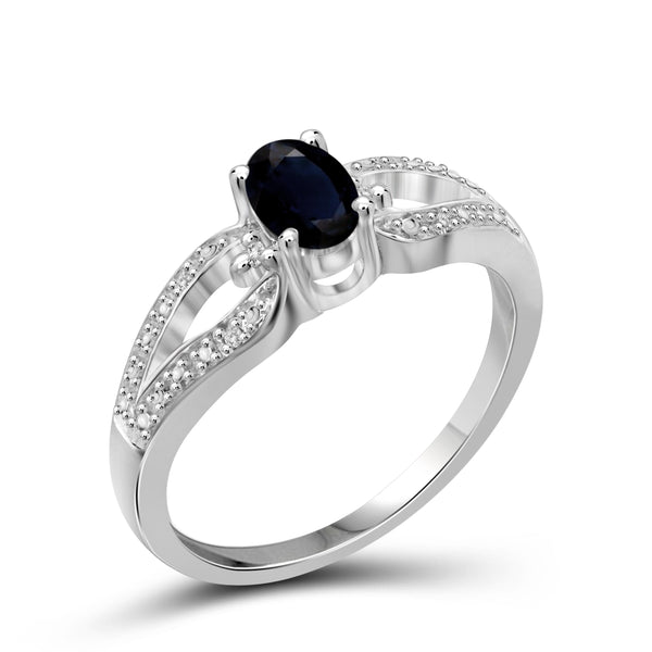 JewelonFire 0.60 Carat T.G.W. Sapphire and White Diamond Accent Sterling Silver Ring - Assorted Colors
