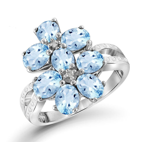 JewelonFire 2 1/4 Carat T.G.W. Sky Blue Topaz And White Diamond Accent Sterling Silver Ring - Assorted Colors