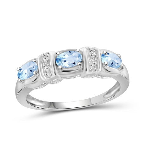JewelonFire 3/4 Carat T.G.W. Sky Blue Topaz And White Diamond Accent Sterling Silver Ring - Assorted Colors
