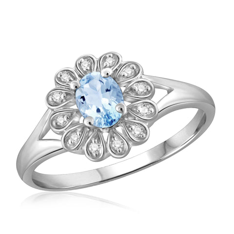 JewelonFire 1/4 Carat T.G.W. Sky Blue Topaz And 1/20 Carat T.W. White Diamond Sterling Silver Ring - Assorted Colors