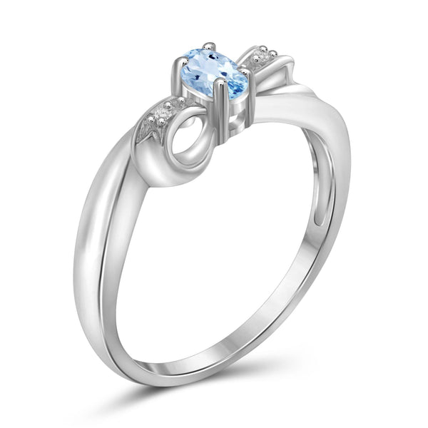 JewelonFire 1/4 Carat T.G.W. Sky Blue Topaz And White Diamond Accent Sterling Silver Ring - Assorted Colors