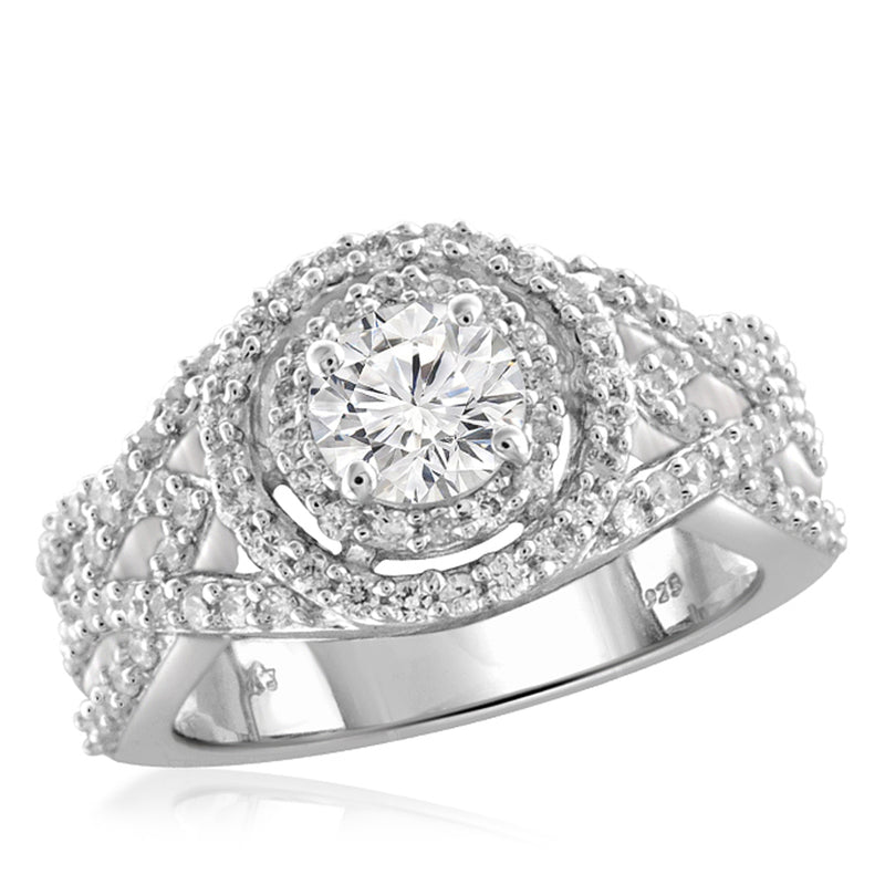JewelersClub 1.00 Carat T.W. White Diamond Sterling Silver Concave Band - Assorted Colors