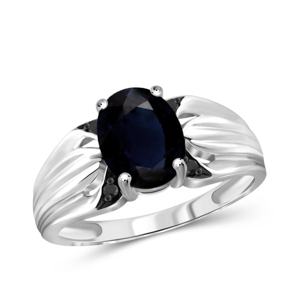 JewelersClub 1.90 Carat T.G.W. Sapphire and 1/20 ctw Black Diamond Sterling Silver Ring - Assorted Colors
