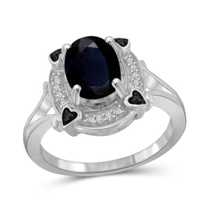 JewelonFire 1.90 Carat T.G.W. Sapphire and 1/20 ctw Black and White Diamond Sterling Silver Ring - Assorted Colors