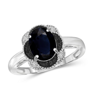 JewelonFire 1.90 Carat T.G.W. Sapphire and Black and White Diamond Accent Sterling Silver Ring - Assorted Colors
