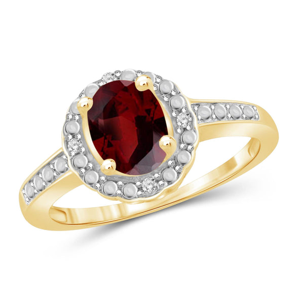 JewelonFire 1 1/2 Carat T.G.W. Garnet And 1/20 Carat T.W. White Diamond Sterling Silver Ring - Assorted Colors