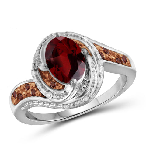 JewelersClub 1 1/2 Carat T.G.W. Garnet And 1/10 Carat T.W. Red & White Diamond Sterling Silver Ring - Assorted Colors