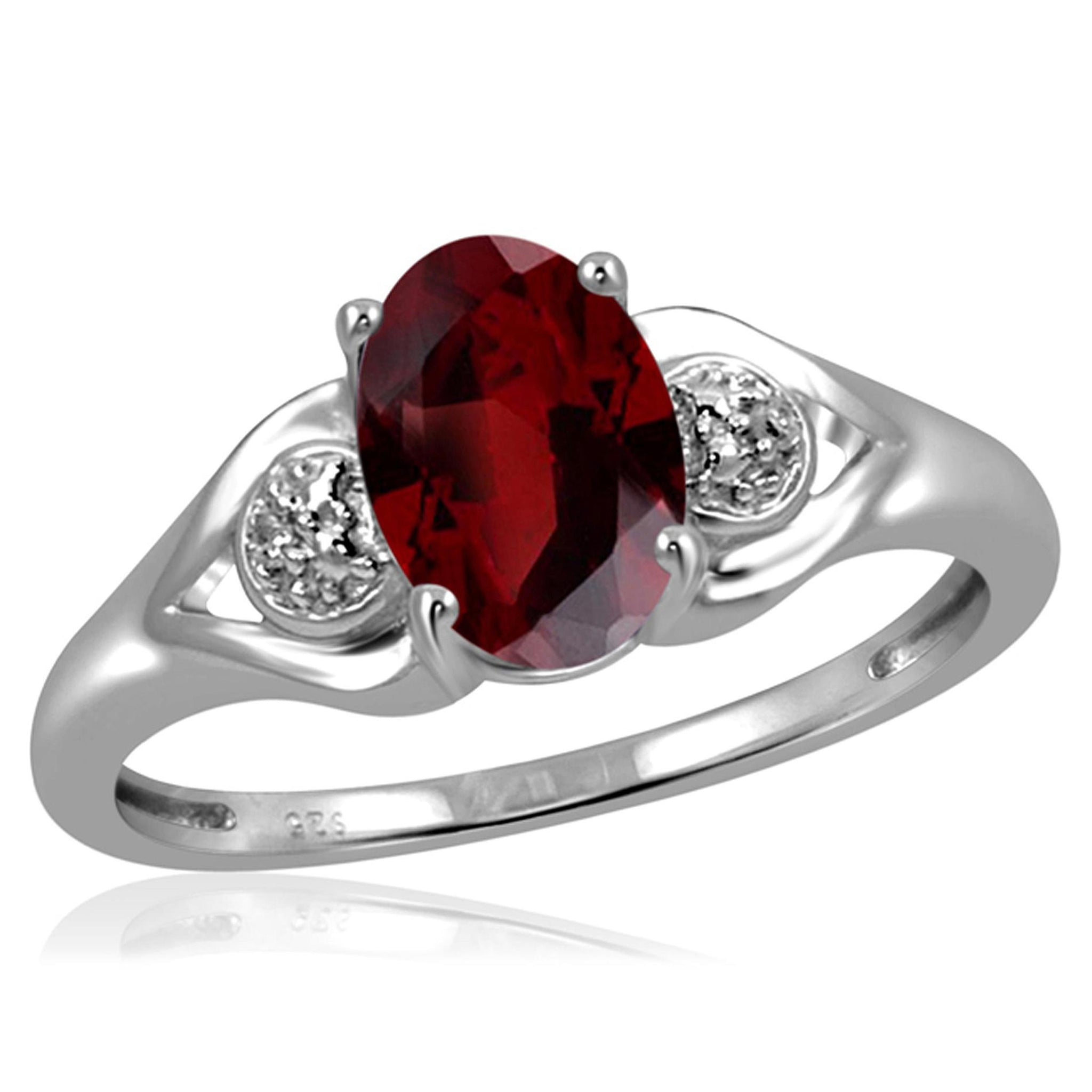 JewelonFire 1 1/2 Carat T.G.W. Garnet And White Diamond Accent Sterling Silver Ring - Assorted Colors