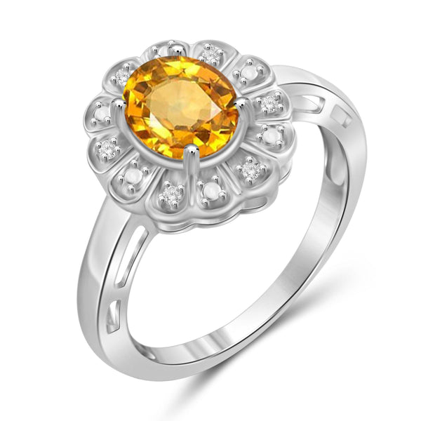 JewelonFire 1.00 Carat T.G.W. Citrine And 1/20 Carat T.W. White Diamond Sterling Silver Ring - Assorted Colors