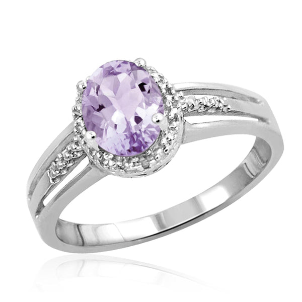 JewelersClub 1.00 Carat T.G.W. Pink Amethyst And White Diamond Accent Sterling Silver Ring - Assorted Colors