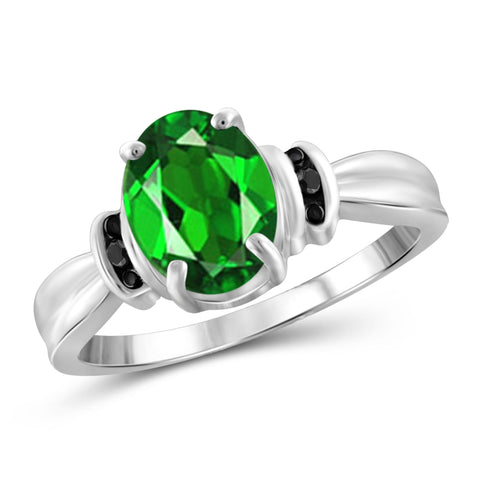 JewelonFire 1.50 Carat T.G.W. Chrome Diopside and Black Diamond Accent Sterling Silver Ring - Assorted Colors