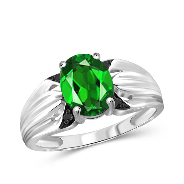 JewelonFire 1.50 Carat T.G.W. Chrome Diopside and 1/20 ctw Black Diamond Sterling Silver Ring - Assorted Colors