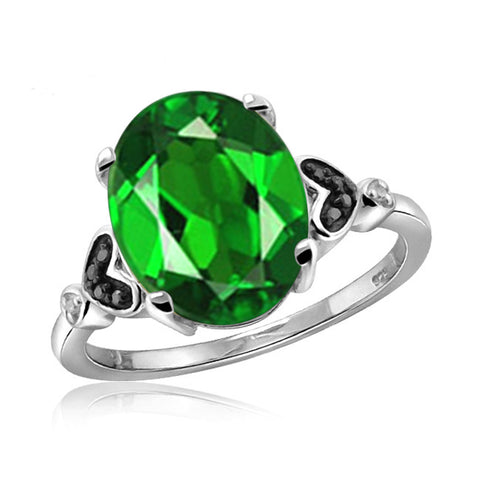 JewelonFire 1.50 Carat T.G.W. Chrome Diopside and 1/20 ctw Black & White Diamond Diamond Sterling Silver Ring - Assorted Colors