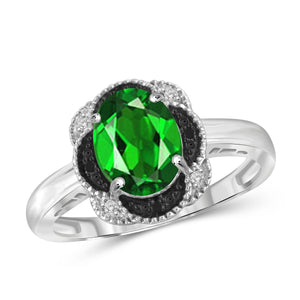 JewelonFire 1.50 Carat T.G.W. Chrome Diopside and Black and White Diamond Accent Sterling Silver Ring - Assorted Colors