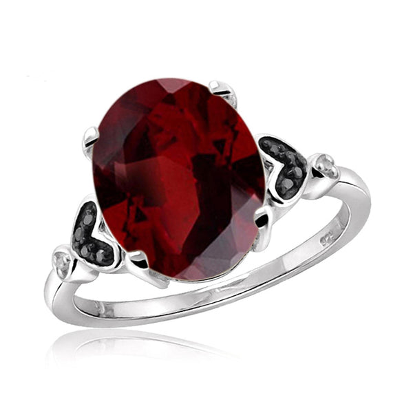 JewelonFire 2.15 Carat T.G.W. Garnet And 1/20 Carat T.W. Black & White Diamond Sterling Silver Ring - Assorted Colors