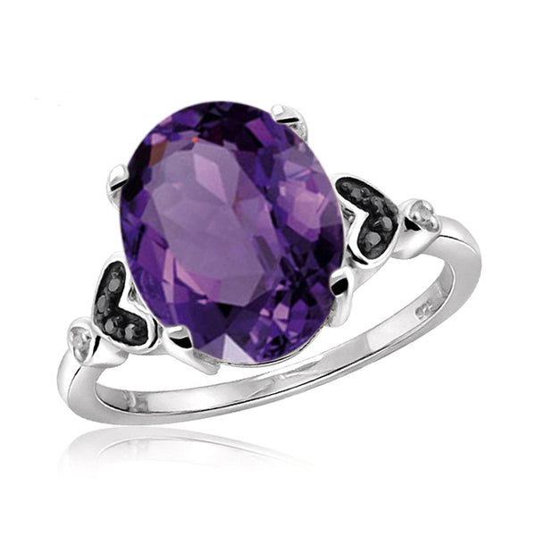 JewelonFire 1.60 Carat T.G.W. Amethyst And 1/20 Carat T.W. Black & White Diamond Sterling Silver Ring - Assorted Colors