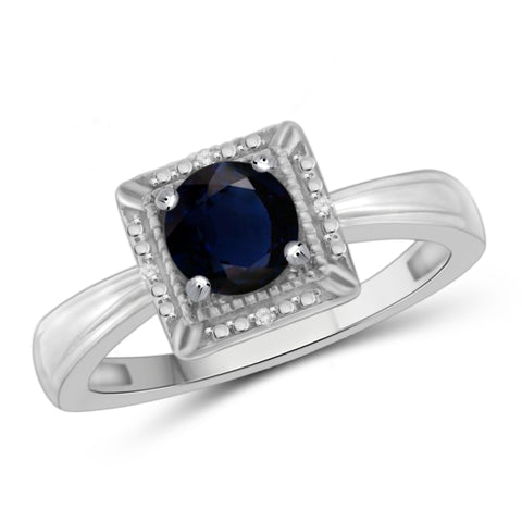 JewelonFire 1 1/5 Carat T.G.W. Sapphire and White Diamond Accent Sterling Silver Ring - Assorted Colors