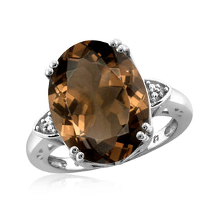 JewelonFire 8 1/2 Carat T.G.W. Smoky Quartz And White Diamond Accent Sterling Silver Ring