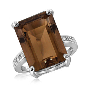 JewelonFire 14 1/4 Carat T.G.W. Smoky Quartz And White Diamond Accent Sterling Silver Ring - Assorted Colors