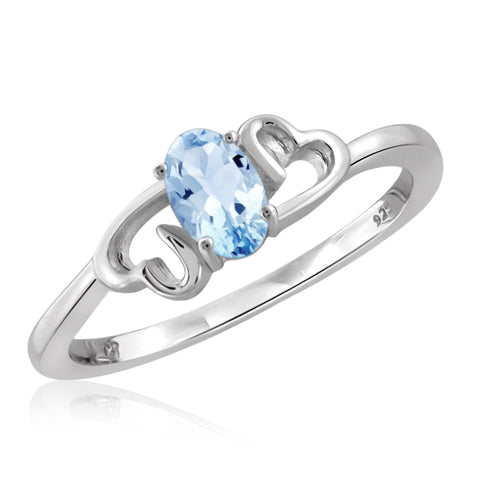JewelonFire 1/2 Carat T.G.W. Sky Blue Topaz Sterling Silver Ring - Assorted Colors