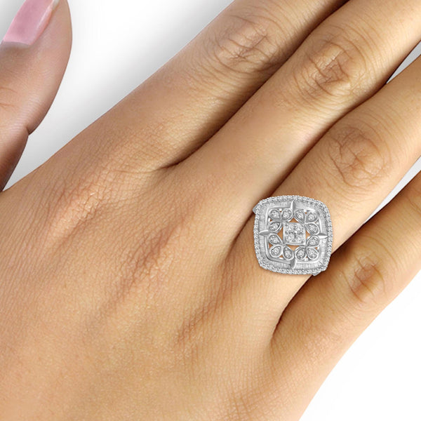 JewelonFire 1 Carat T.W. White Diamond Sterling Silver Ornate Square Cocktail Ring